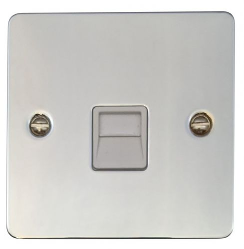 G&H FC34W Flat Plate Polished Chrome 1 Gang Slave BT Telephone Socket